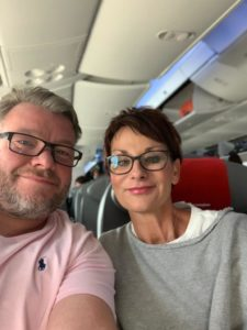 Marcel and Natalie on the plane